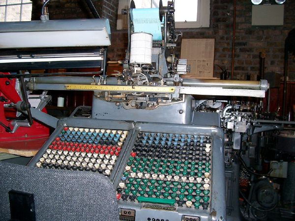 A keyboard for the Monotype casting system.