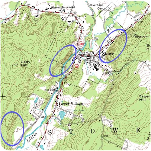 Closely spaced contour lines on a topographic map indicate a steep slope