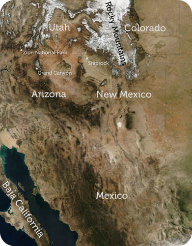 Map of the American Southwest