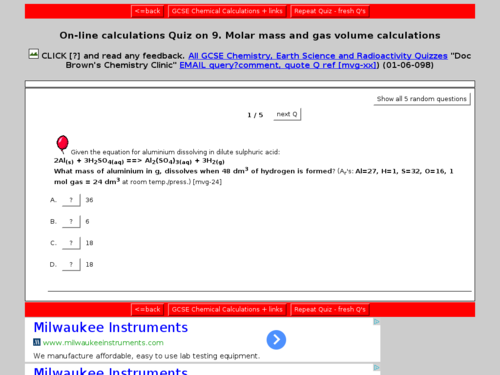 Molar Mass and Gas Volume Calculations