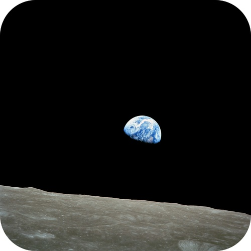 Image of Earth taken by Apollo 8 crewmember Bill Anders on December 24, 1968, showing the Earth rising above the lunar surface