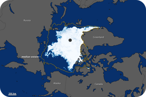 Drawing of the Arctic sea ice minimum for 2011
