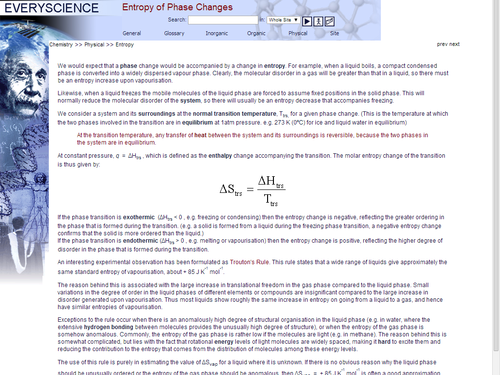 Entropy of Phase Changes