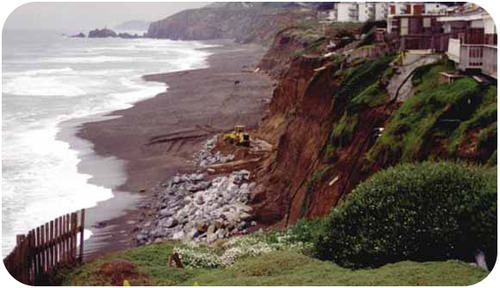 These cliffs are being eroded by waves