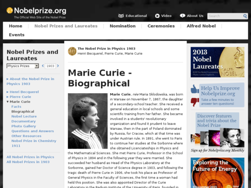 Marie Curie - Biographical