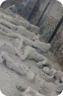People buried by the extremely hot eruption of ash and gases at Mt. Vesuvius in 79 AD