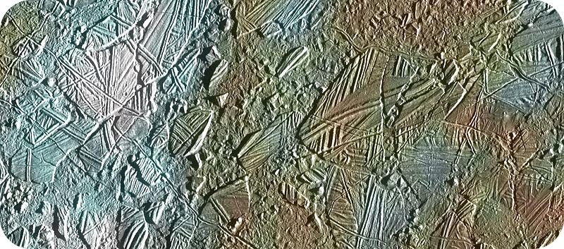An image of Europa's icy surface