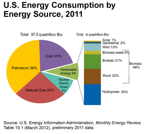 Circle graph of energy sources for the United States