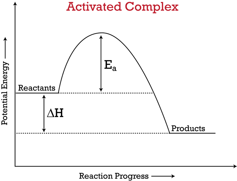 the activated complex contains the highest amount of energy of all of the  species in the reaction  its position is therefore at the top of the  activation