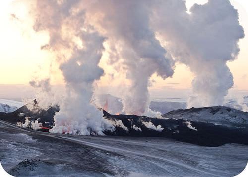 A volcanic eruption on Iceland
