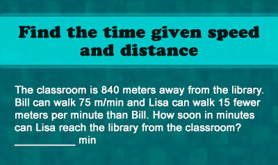 Time = Distance / Speed - Example 1