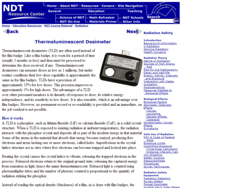 Thermoluminescent Dosimeter