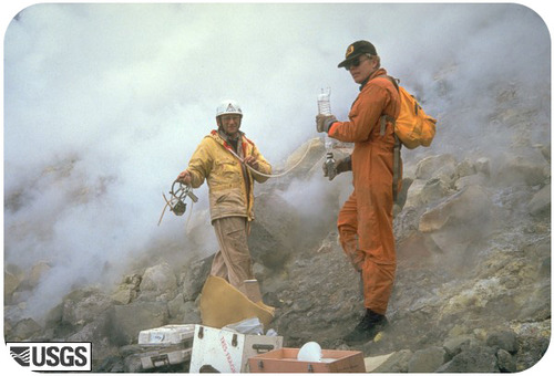 Scientists monitoring gas emissions at Mount St. Helens