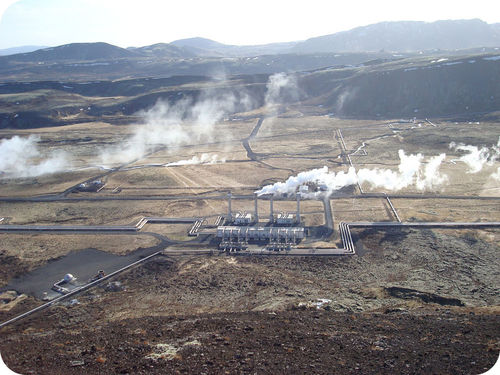Geothermal plant producing electricity