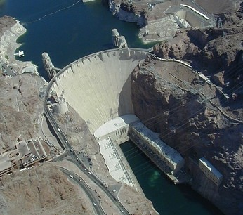 An aerial photograph of Hoover Dam.