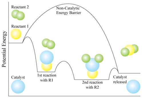Activation energy difference between catalyzed and non-catalyzed reactions