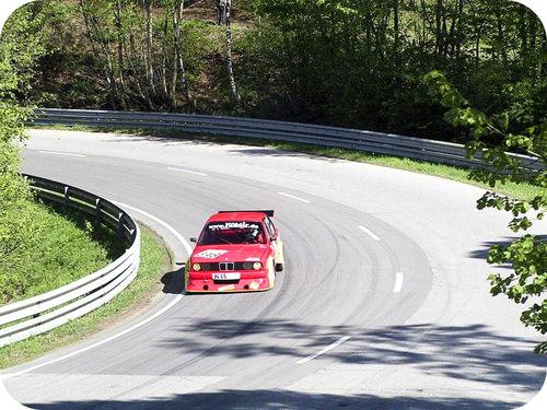 Racecar on a racetrack