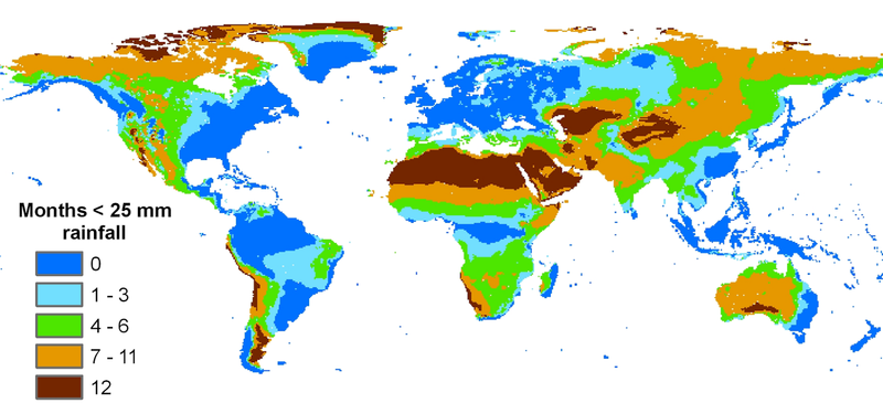 Map of the world showing average rainfall