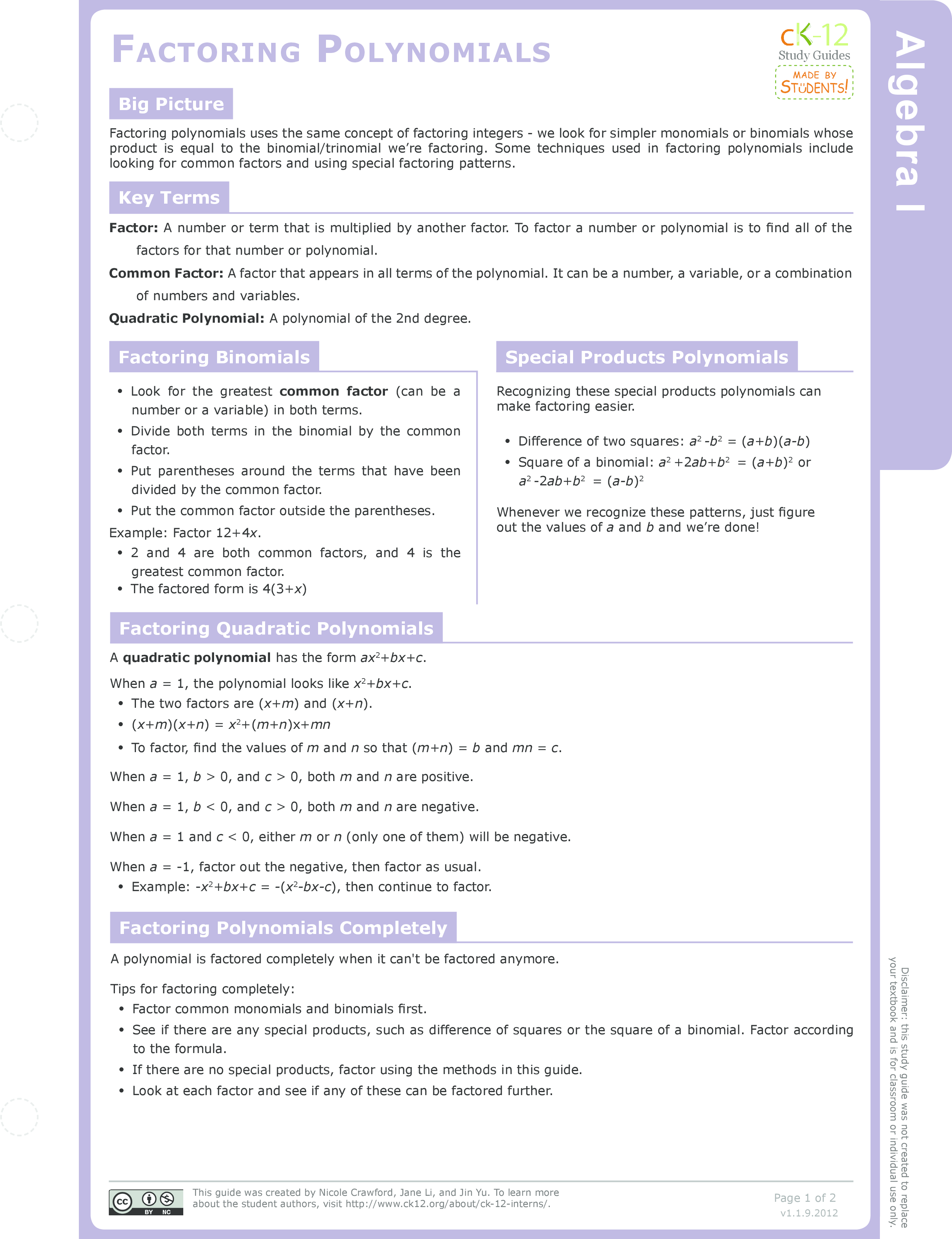 Special Products of Polynomials Study Aids Algebra – Factoring Ax2 Bx C Worksheet Answers