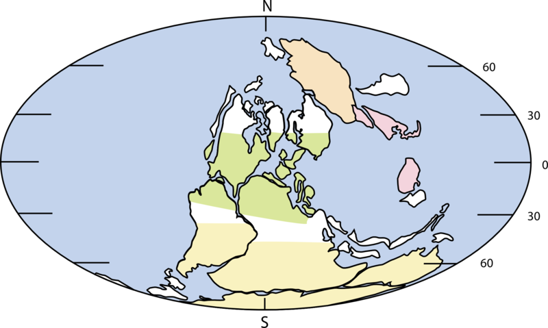 Map showing the continents during the Carboniferous period