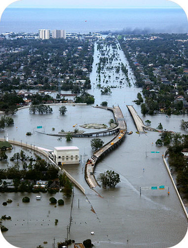 Flooding in New Orleans after Hurricane Katrina hit