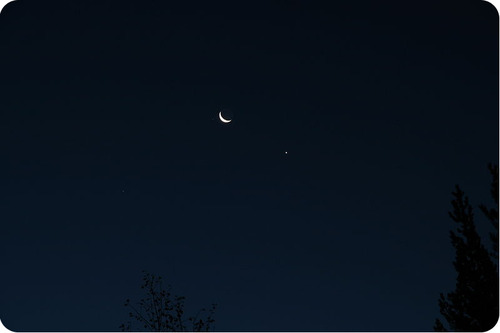 Venus and the moon in the night sky