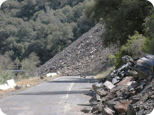 Landslide blocking a highway
