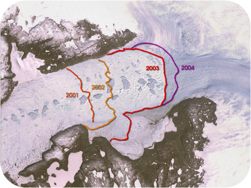 Retreat of the Jakobshavn Isbrae Glacier in Greenland from 2001 to 2004