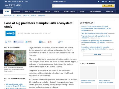 Loss of Big Predators Disrupts Earth Ecosystem
