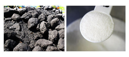 Carbon is a major element of coal and sugar