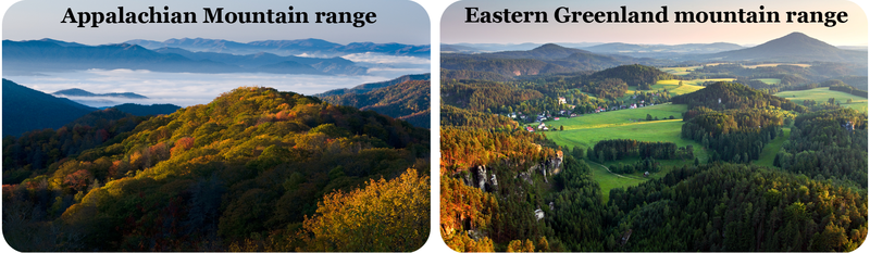 The Appalachian Mountains are similar to the eastern Greenland mountain ranges