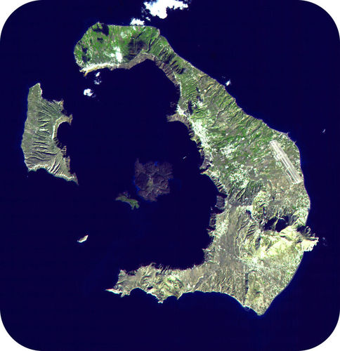The caldera at Santorini in Greece is so large that it can only be seen by satellite
