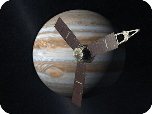Picture of the Juno spacecraft orbiting Jupiter