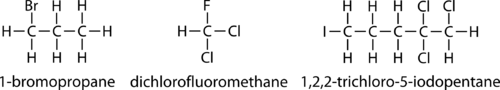 Nomenclature and structure of several alkyl halides