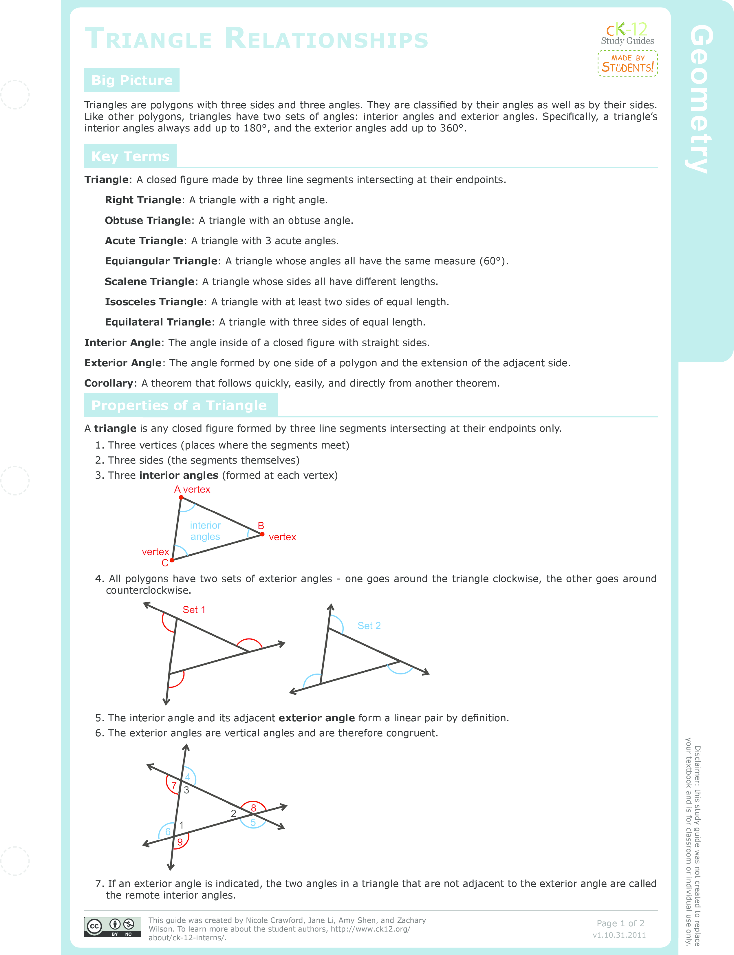 Exterior Angles and Theorems