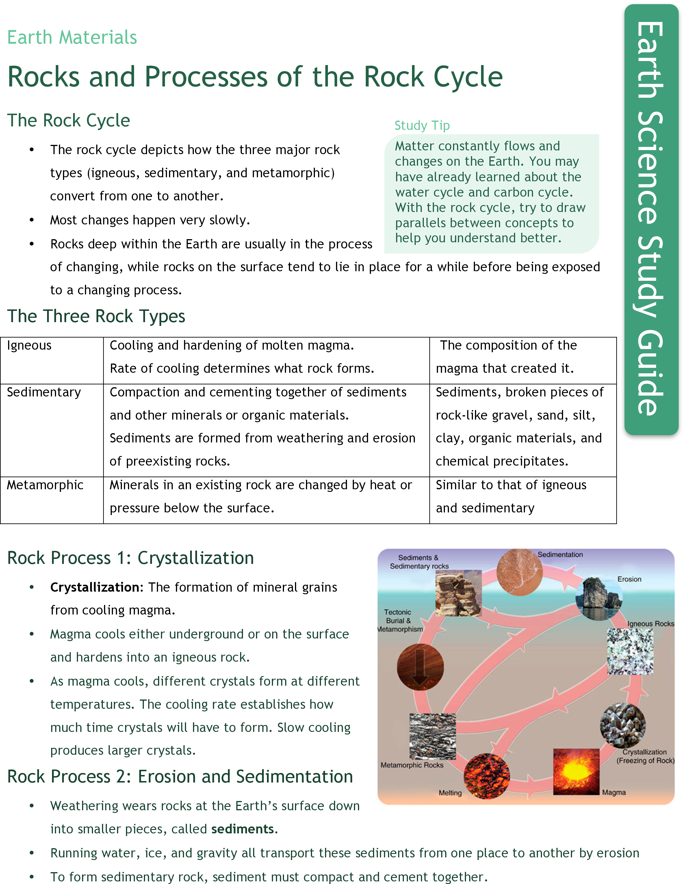 rock cycle processes ck foundation rocks and processes of the rock cycle study guide