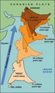The Himalaya Mountains rise as India rams into Eurasia