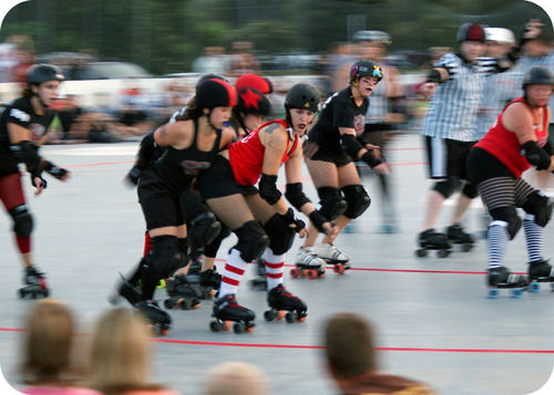 A roller derby game is like electron shielding