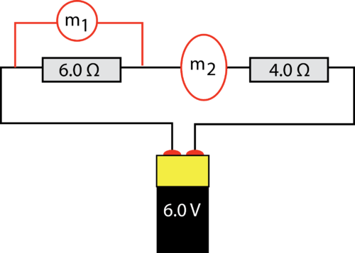 diagram of a circuit with an ammeter and a voltmeter inserted