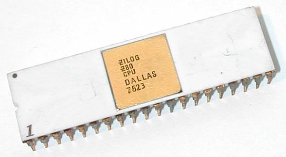 A Zilog Z80 microprocessor manufactured in 1976.