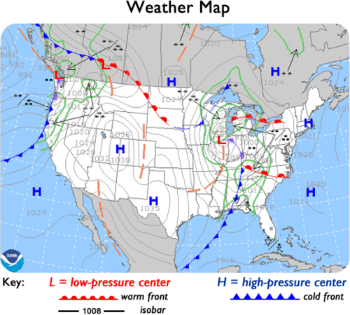 Weather Maps – Reading a Weather Map Worksheet
