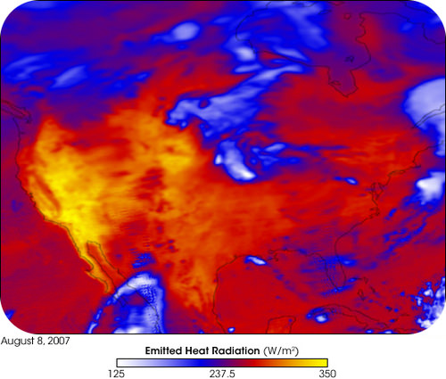 Satellite image of a heat wave