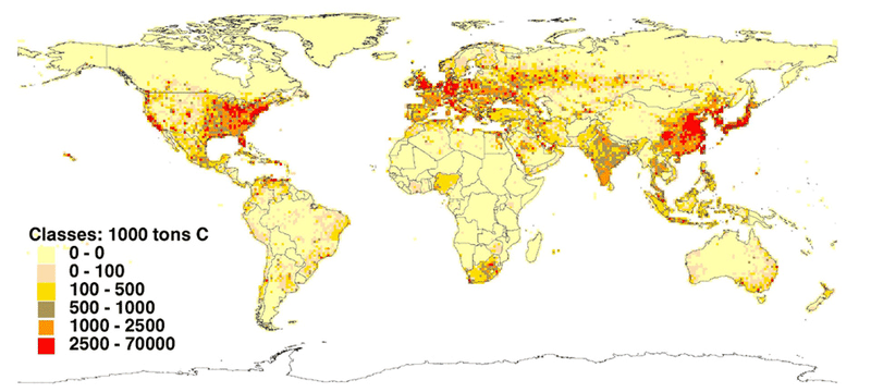 Map of carbon dioxide emissions in the world