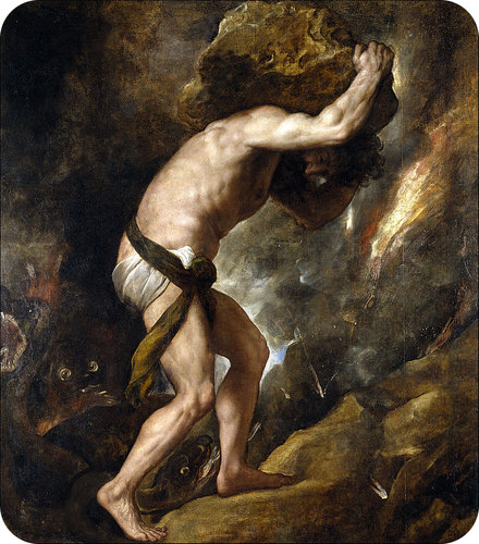 Sisyphus was ordered to repeatedly push a rock the top of a high energy hill