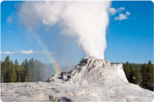 Castle Geyser erupting in Yellowstone National Park
