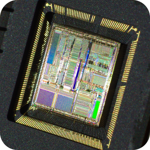 Photograph of an integrated circuit chip