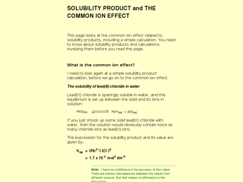 Solubility Product and the Common Ion Effect