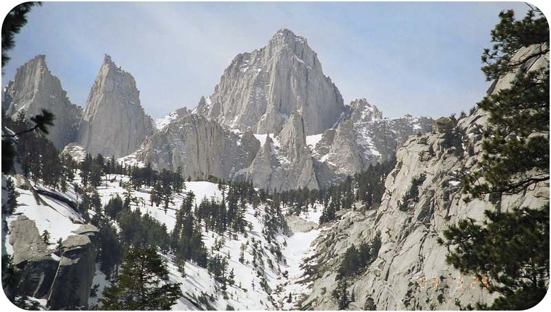 Picture of Mount Whitney, which formed from the Sierra Nevada batholith cooling beneath a volcanic arc