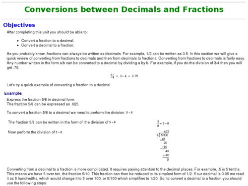 Compare Decimals and Fractions