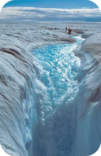 River flowing over glacier